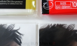 Comparison between perfect size sleeve protectors card barrier Jaejoong