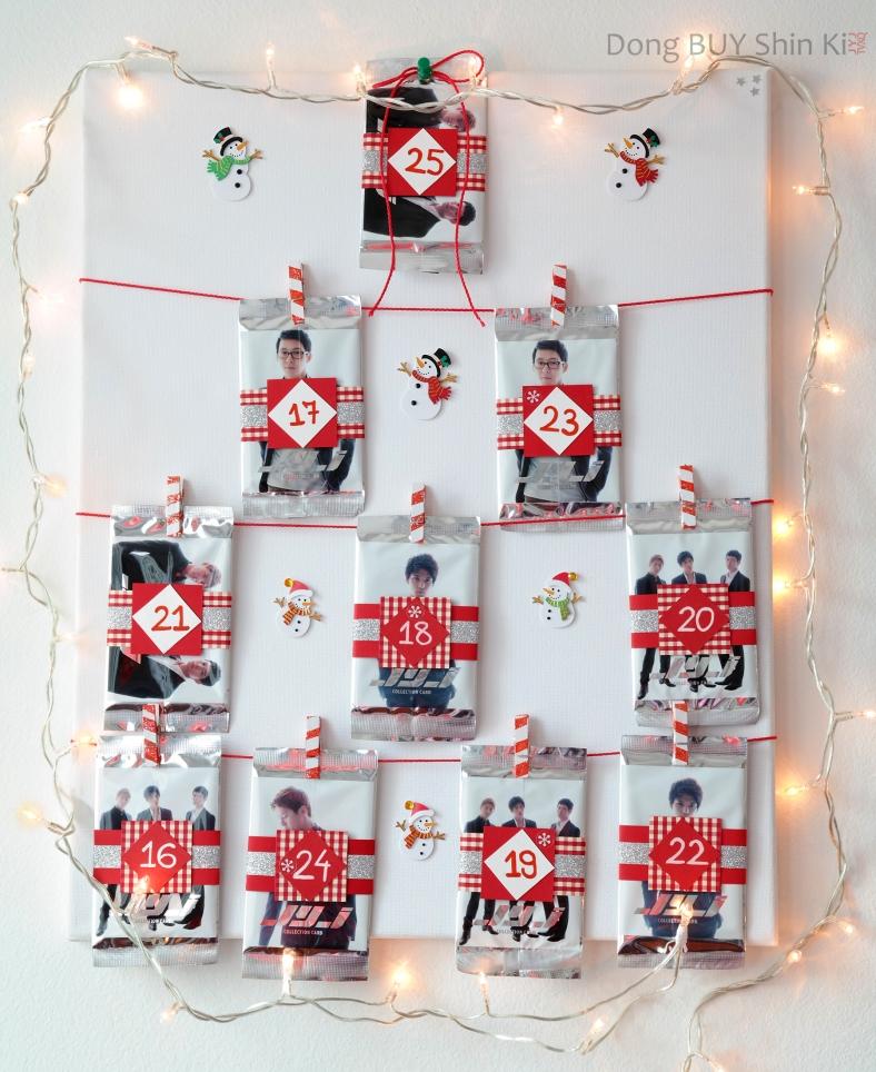 Kpop JYJ Jaejoong Yoochun Junsu Christmas holiday advent calendar photo cards DIY how to tutorial handmade