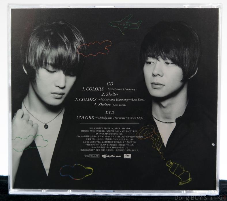 COLORS Melody and Harmony Shelter tracklisting track list CD DVD Jaejoong Yoochun from Dong Bang Shin Ki Tohoshinki back rear