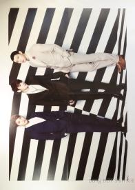 JYJ in suits Xia Junsu Kim Jaejoong Park Yoochun poster black and white stripes background