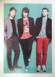 JYJ unboxing OT3 Junsu Jejung Yuchun poster turquoise background wallpaper large 2013