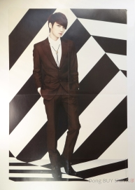 Kim Jaejoong handsome poster brown suit short hair boots black and white background
