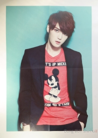 Kim Jaejoong poster with red Mickey Mouse shirt black suit watch red short hair turquoise background wallpaper
