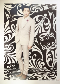 Park Yoochun handsome poster beige off white suit purple flower black and white background