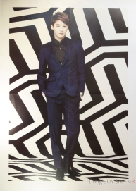 Xia Junsu handsome poster black and white background blue maroon suit black shirt short hair