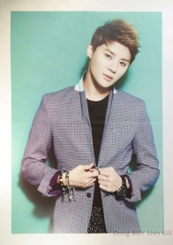 Xia Junsu poster watch bracelets short brown hair suit black shirt pants make up from Tokyo Dome turquoise background