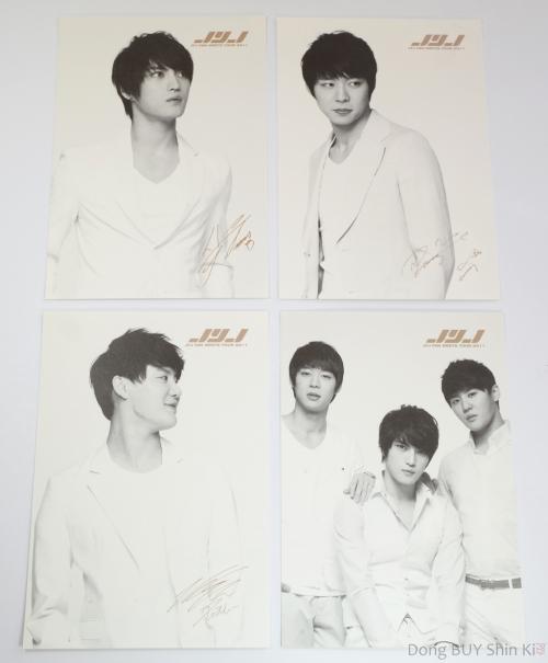 Hero Jaejoong Micky Yoochun Xia Junsu signature autograph card black and white golden fan meets fanmeeting 2011 Lotte short hair white suit pants shirt