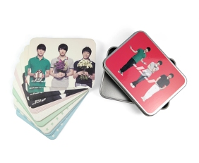 JYJ memo cards red metal box cute paper featured