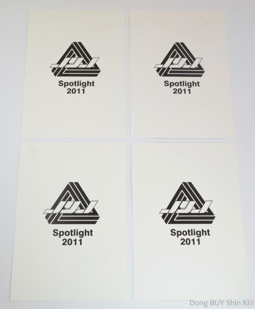 JYJ spotlight 2011 white cardstock official goods JYJ black logo symbol sign