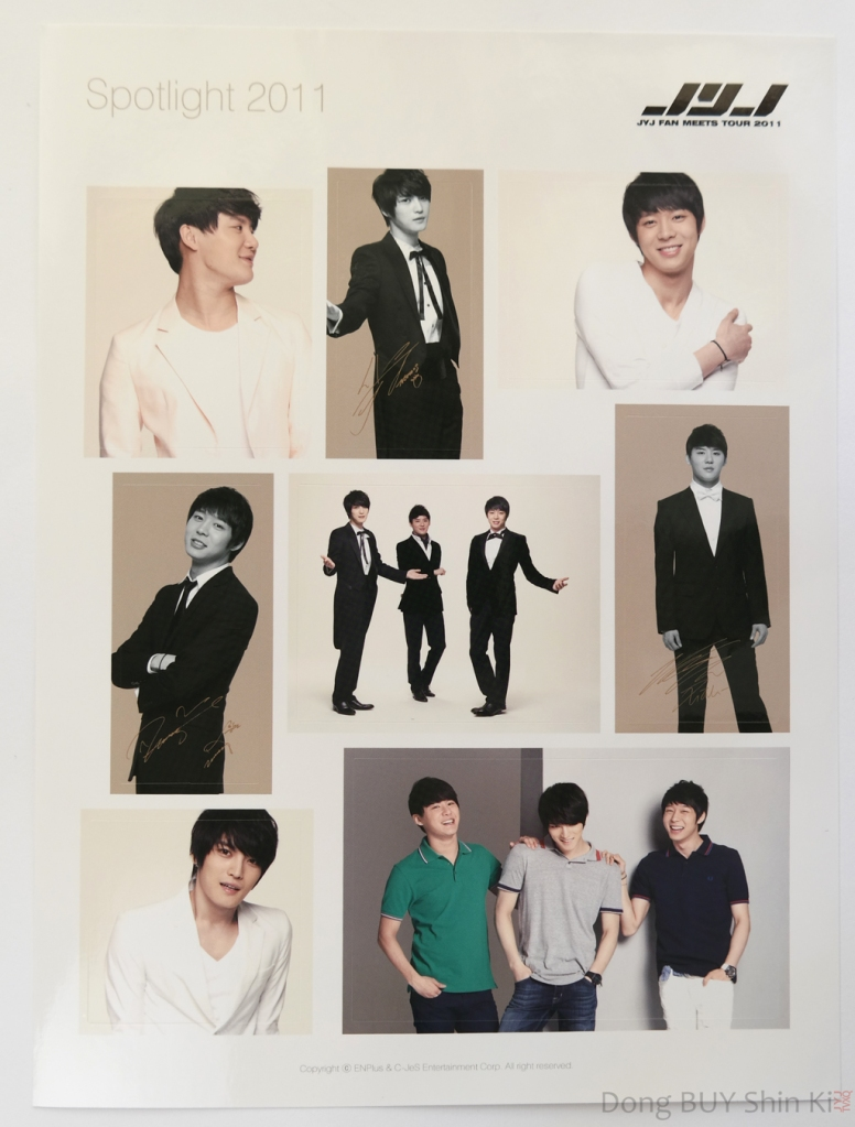 JYJ sticker sheet Spotlight 2011 C-JeS Entertainment official fanmeeting goods