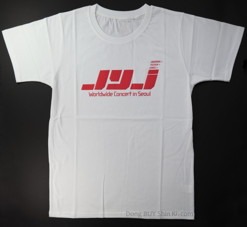 unboxing white JYJ t-shirt with red logo WorldWide Concert in Seoul